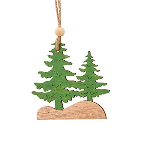 Hohaski 1PC Wooden Hanging Christmas Tree Cabin Elk Car Ornament Xmas Party Home Decor, Christmas Ornaments Advent Calendar Pillow Covers Garland Tree Skirt Gift Bags DIY from Hohaski