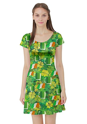 ST CowCow Skater Clover Dress XS Pattern Green Day Shamrock Womens Irish Sleeve Patrick's 5XL Green Short Leaves U44qgTIw