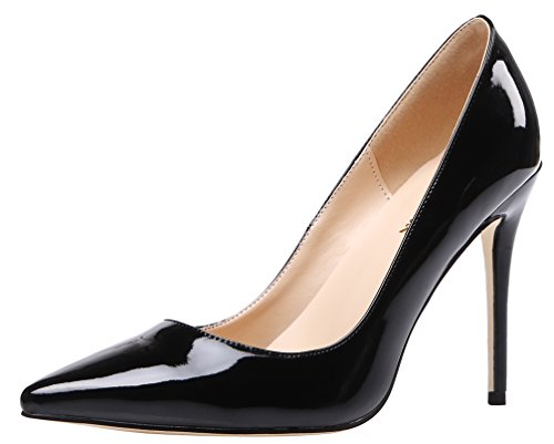 AOOAR Women's Heeled Slip On Black Patent Dress Pumps 9 M US (Leather Pumps Patent Toe)