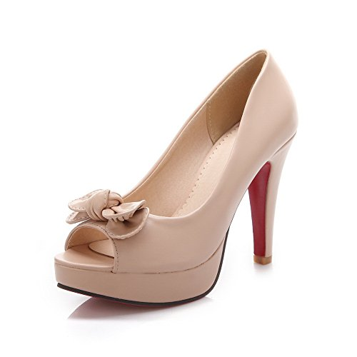 Balamasa Flickor Peep-toe Kick-häl Metall Bowknot Pådrag Gummi Pumpar-shoes Aprikos