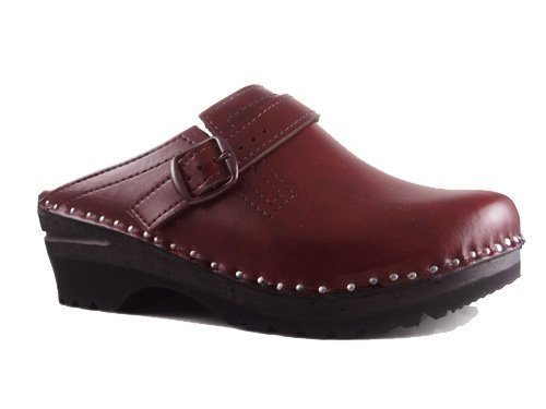 Men's Cherry Donatello Troentorp Black Leather Båstad Clog 78Opnqg1