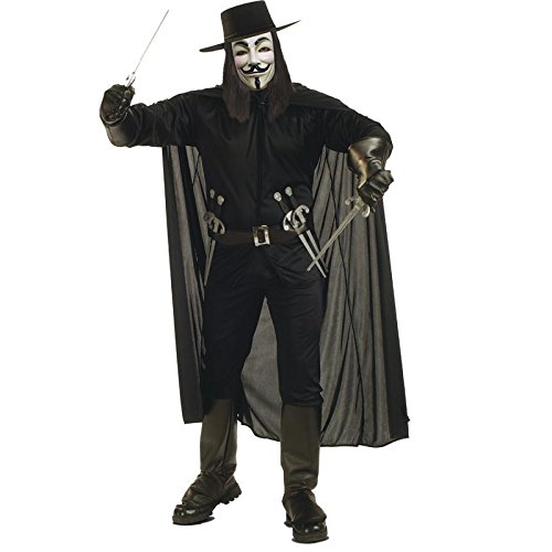 V For Vendetta Complete Costume, Black, Standard -
