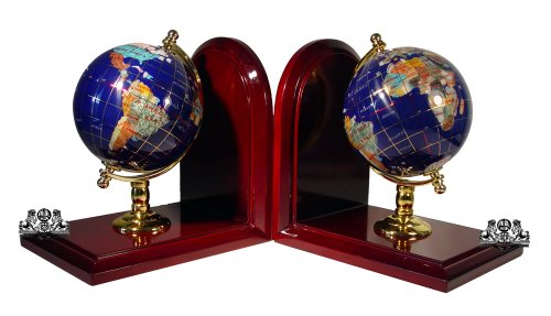 Unique Art 7-Inch Tall Pair of Blue Lapis Ocean Gemstone World Globe Bookends