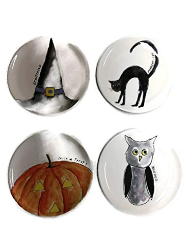 Rae Dunn Halloween 4 Plate Set Bewitching Whoooo Scaredy Cat Trick or Treat? 6 inch dessert plates dishes -