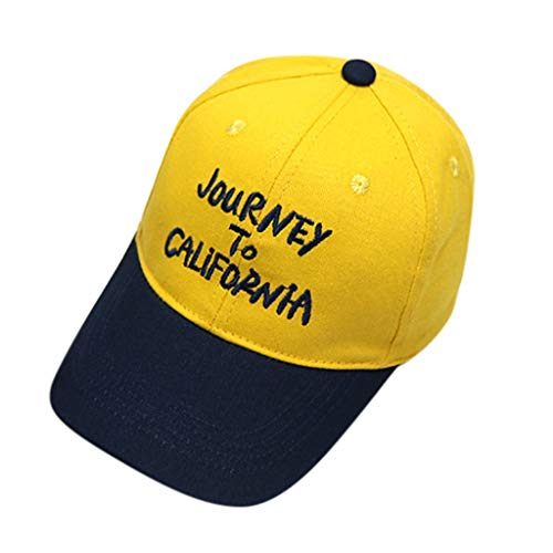 HimTak Baby Boy Hats Letter Soft Cotton Sunhat Eaves Baseball Cap Sun Hat Beret(Yellow)