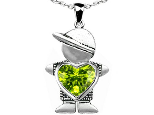 Star K Boy Holding 8mm Mother Heart August Birthstone Pendant Simulated Peridot
