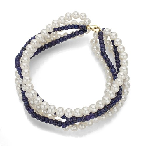14k Yellow Gold 5-5.5mm White Freshwater Cultured Pearls and 3-3.5mm Simulated Sapphire Bracelet, 7