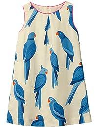 Little Girls Cotton Dress Sleeveless Casual Summer Sundress Flower Printed Jumper Skirt