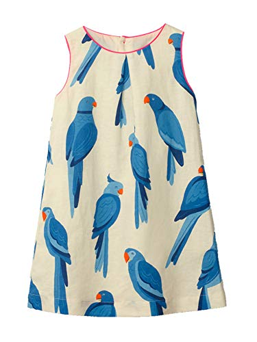 Kids Girl Sundress Summer Sleeveless Casual Blue Bird Flared Tank Shirt Dress White Jumper Skirt