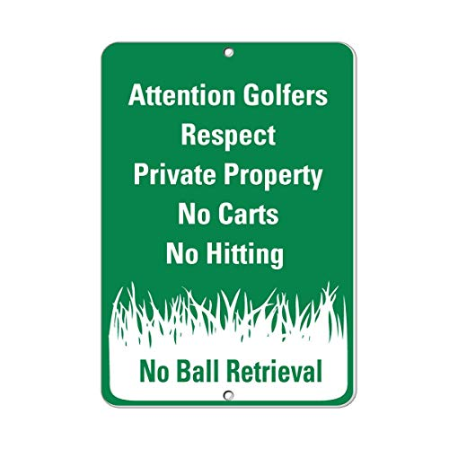 Attention Golfers Respect Private Property No Carts Hitting Metal Sign for Front Door Aluminum Sign Heavy Duty Tin Sign Gift