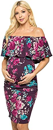 My Bump Women's Ruffle Off-Shoulder Maternity Dress W/Side Sharing(Made in