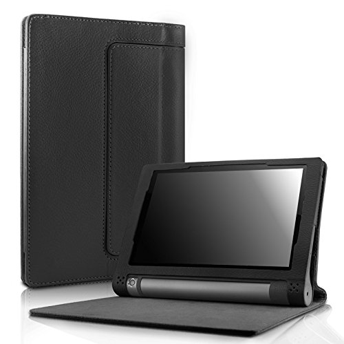 Lenovo Yoga Tab 3 8 Case - Infiland Folio Premium Leather Smart Stand Cover for 2015 Released Lenovo Yoga Tablet 3 8-Inch Tablet Only, Black