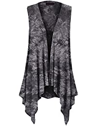 Womens Lightweight Sleeveless Draped Open Cardigan - Made...