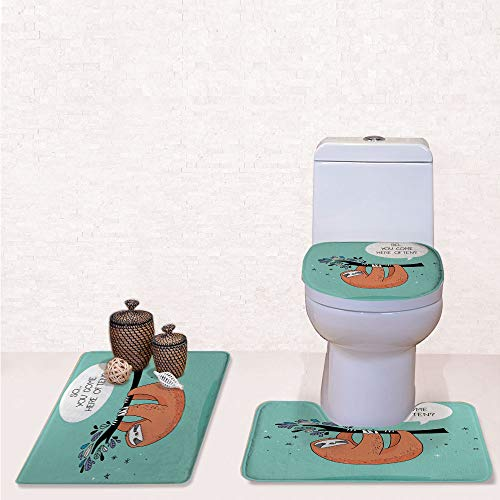 3 Piece Soft Bathroom Rug Set Includes Bath Mat, Contour Rug,Lid Cover,Cartoon Design Print Sloth with a Flirty Quote So You Come Here Often Color Image with Multi,Decorate Bathroom,Entrance Door,ki
