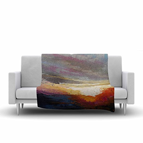 Kess InHouse Carol Schiff Georgia Morning Multicolor Nature Fleece Throw Blanket, 80 by 60