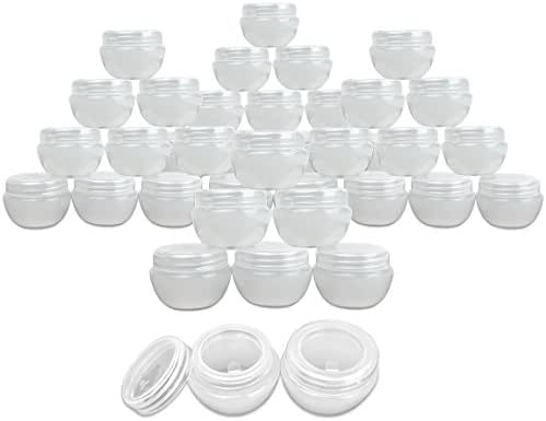 Beauticom 48 Pieces 20G/20ML White Frosted Container Jars with Inner Liner for Homemade Moisturizers, Lotions, Skin Care Products - BPA Free