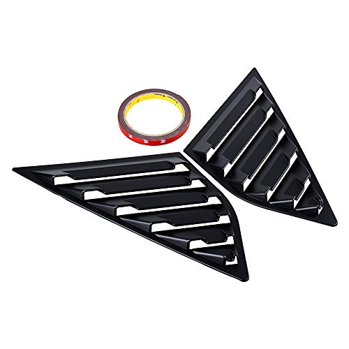 Anzios 2X Rear Side Quarter Window Louvers Vent Trim Cover with 3M Tape Compatible with 12-18 Ford Focus MK3 Hatchback (Matte Black) ()