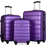 Merax Travelhouse Luggage 3 Piece Expandable Spinner Set Purple