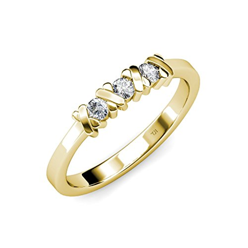 TriJewels Diamond XOXO Hugs and Kisses Three Stone Ring 0.30 ct tw in 14K Yellow Gold.size 6.0