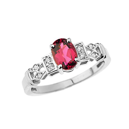 Exquisite 10k White Gold Diamond with Solitaire Pink Tourmaline Engagement/Promise Ring (Size 6.5)