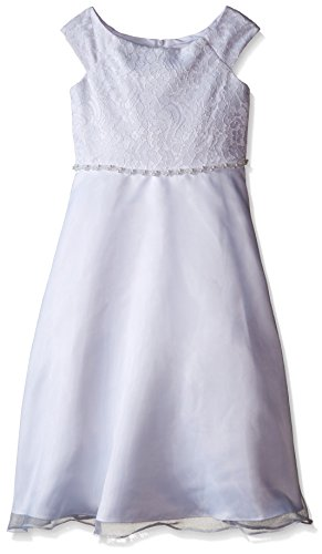 (Lavender Slim Girls Cap Sleeve Lace Bodice A-Line with Beaded Waist, White,)