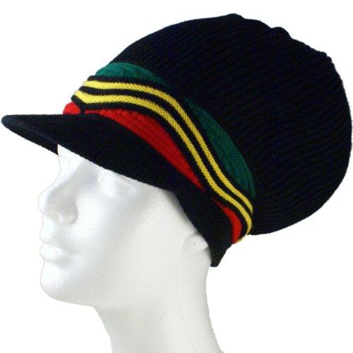 SSK Rasta Knit Tam Hat Dreadlock Cap (Med Length Red/YEL/GRN Waves w/Brim)