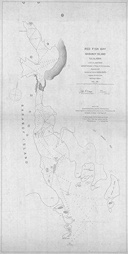 (Vintography 24 x 36 Giclee Print Nautical Map Image RED Fish Bay BARANOF Island 1897 NOAA 30a)