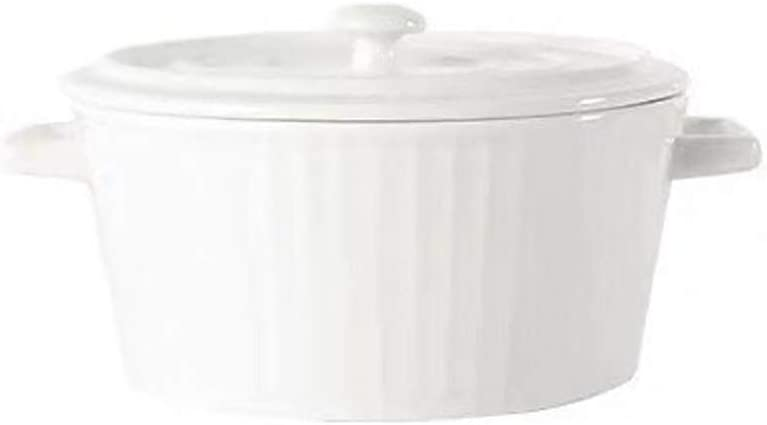 CCSU Round Soup Hot Potwith Lid and Handle,Heat-Resistant Ceramic Covered Casserole Earthen Pot for Slow Cooking Braising Bibimbap White 1.16quart