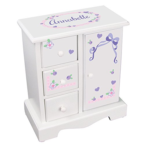 (MyBambino Personalized Girls Jewelry Armoire with Lacey Bow)
