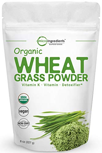 Sustainably US Grown, Organic Wheat Grass Powder, 8 Ounce (75 Serving), Rich in Fiber, Chlorophyll, Fatty Acids and Minerals, No GMOs and Vegan Friendly (Best Wheatgrass Powder Reviews)