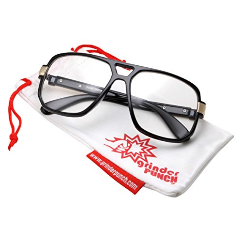 Baby Glasses Costume (grinderPUNCH Classic Square Frame Glasses - Clear Lens - Vintage Flat Top - Black And Gold Frame)