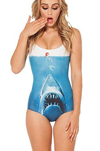 Ensasa Women's Fashion Ariel & Shark Printed One Piece Swimwear,Swimsuit (Medium)