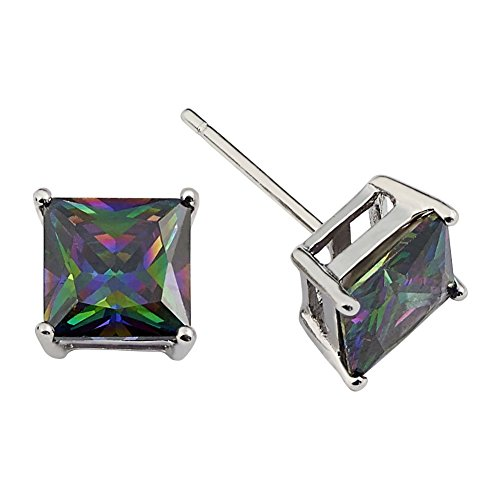 Princess Cut Square Simulated Rainbow Mystic Topaz Stud Earrings on 925 Sterling Silver (6x6mm) (Topaz Jewellery Mystic)