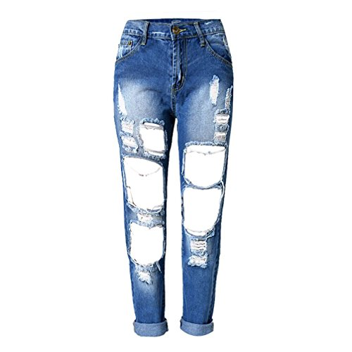 RieKet Distressed Boyfriend Dipped Jeans for Women (5(Asia 29), Blue)