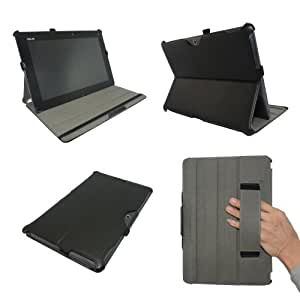 """Premium Leather Cover Sleeve Case with Multi-Angle Smart Stand and Hand Grip and Secure Closure for Asus Transformer TF701T 10.1"""" Tablet"""