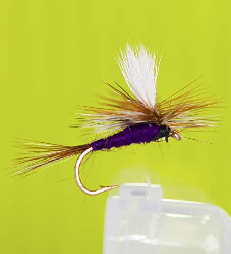 Outdoor Planet 12 Adams Purple Parachute Dry Flies Trout Flies Lure Assortment for Trout Fly Fishing Flies