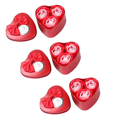 Alisy 3 Iron Box Bath Body Petal Rose Flower Soap - Soap Flowers Bouquet in A Box Mother's Day Gift Box Set with Small Gifts Promotional Gifts 9Pcs (Red)