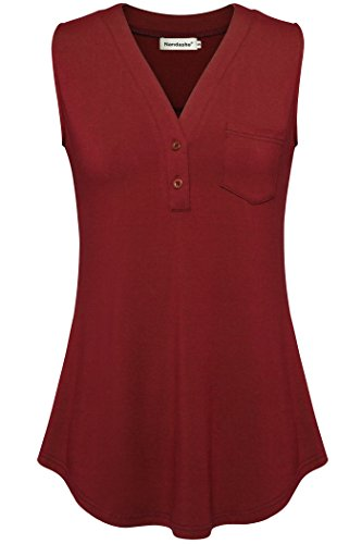 Nandashe Women T Shirts, Flare Tunic Top Sleeveless Red Tunic Tank Tops V Neck XL Button Down Sleeveless