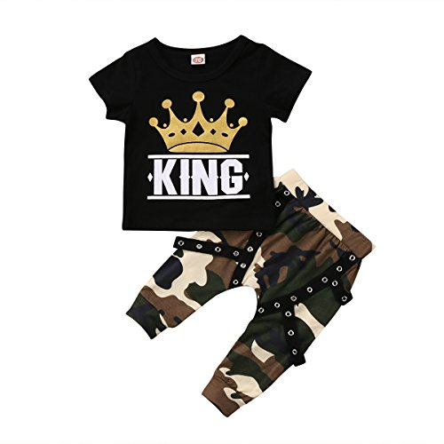 Ma&Baby Toddler Baby Boy Clothes King Short Sleeve Black T-Shirt +Camo Pants Outfits Tops Set (18-24 (Infant Black Kids Clothing)