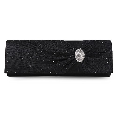 Shining Wedding Black Damara Bag Evening Handbag Rhinestone Satin Clutch 7wFdUq