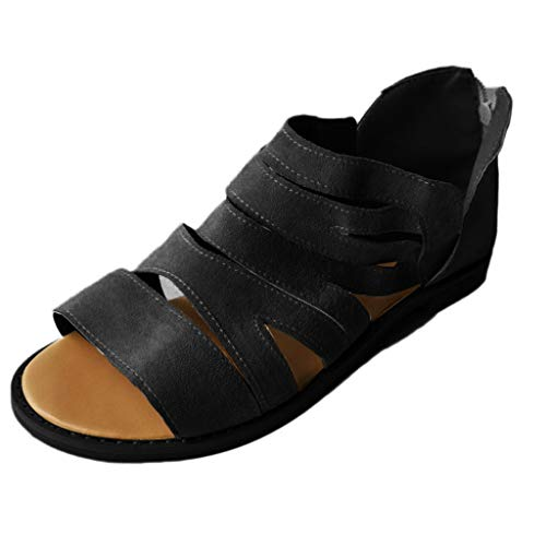 YKARITIANNA Summer Women's Sandals Shallow Shoes Platform Round Toe Retro Casual Shoes Black ()