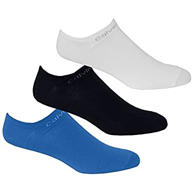 Calvin Klein 3-Pack Coolmax Cotton Men's Trainer Socks, Blue/White/Navy