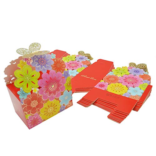 (Kslong 50Pcs/Set Flower Butterfly Hollow Candy Box Cookie Gift Boxes Romantic Wedding Favors Cute Chocolate Box for Wedding Bridal Birthday Party Supplies (Multicolor, S))