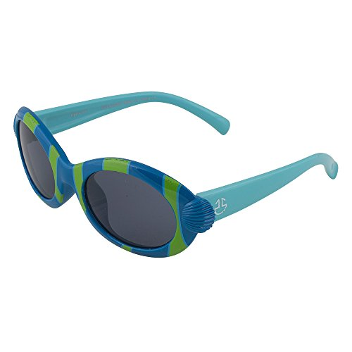 Kids Flexible Rubber Sunglasses for Boys and Girls - Blue and Green Striped Oval Frame - Bendable and Unbreakable with 100% UV Protection and Polarized Lenses - By Optix 55