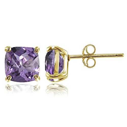 Yellow Gold Amethyst Necklace - Yellow Gold Flashed Sterling Silver 7mm Cushion-Cut Amethyst Stud Earrings
