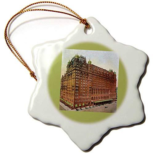 (3dRose Waldorf Astoria New York City Vintage Postcard Reproduction Snowflake Ornament)