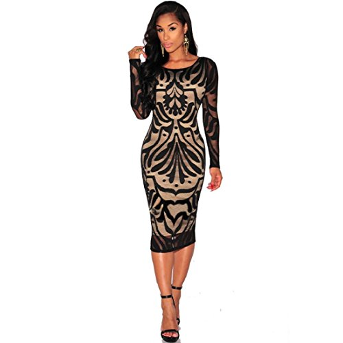 GONKOMA Women Bodycon Lace Dress Bandage Cocktail Party Long Sleeve Dress (S, Black) (Topper Cake Flapper)