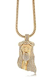 """Iced Out Gold Jesus Piece Pendant w/ 30"""" & 36"""" Franco Chain"""