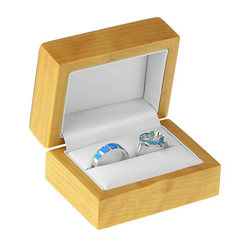 Geff House Maple Wood Double Ring Jewelry Gift Box by Geff House