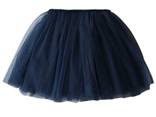 Aivtalk Girls Ballet Skirt 4 Layered Pleated Tutu Solid Color children Mini Fancy 6-7T Blue -